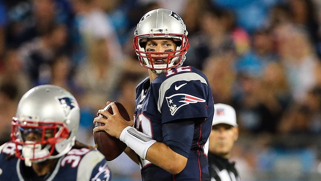 Tom Brady throws two INTs, but Patriots top Panthers