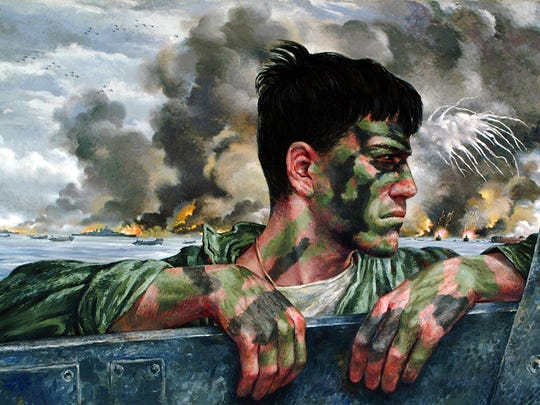 """""""First Wave: Going In, Peleliu,"""" Tom Lea oil painting, 1944"""