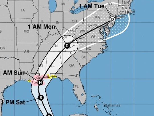 The projected path of Tropical Storm Nate, as of Friday morning.