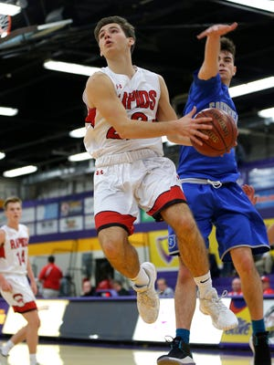 Wisconsin Rapids player Jake Schooley makes a basket during the Sentry Classic basketball tournament at the University of Wisconsin-Stevens Point in Stevens Point, Wis., December 29, 2017.