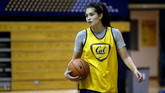 California's Penina Davidson practices after finding a home at Cal following an unusual collaboration between the two coaches for the longtime rival schools.