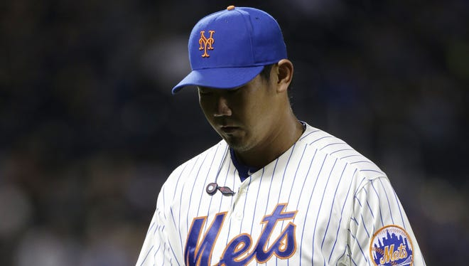 Mets pitcher Daisuke Matsuzaka leaves the field during the eighth inning of Saturday night's 7-5 loss to the Braves.
