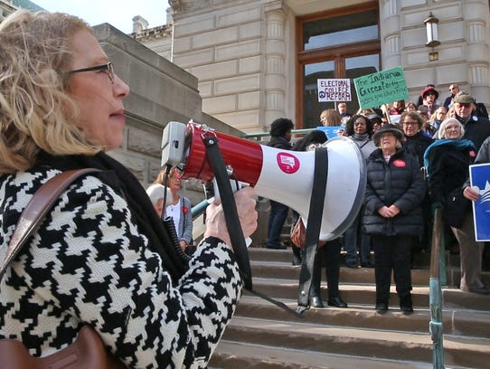 Julia Vaughn leads a rally on redistricting reform at the Indiana Statehouse on Nov. 21, 2017.