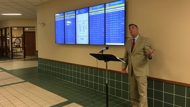 A photo posted on the Greene County Twitter page shows Circuit Clerk Tom Barr explaining the new video boards at the courthouse last week.