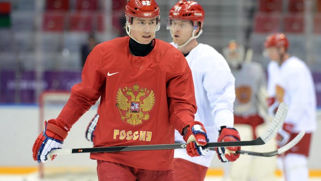 Russia defenseman Yevgeni Medvedev (82) during an ice hockey training session for the Sochi 2014 Olympic Winter Games at Bolshoy Arena. Mandatory Credit: Jayne Kamin-Oncea-USA TODAY Sports