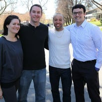 From left are SUNY Chancellor's Award recipients Danielle Van Ostrand, Paul Christian, Eric Ortiz and Eric Tomik.