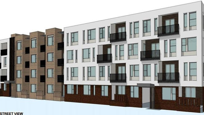 This drawing shows one view of the planned apartments at Foothills mall in Midtown Fort Collins.