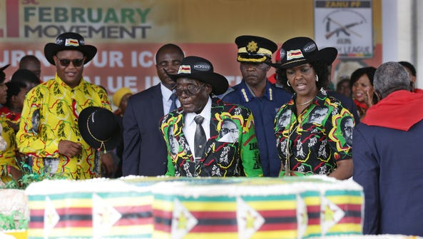 Zimbabwe President Robert Mugabe with his wife Grace