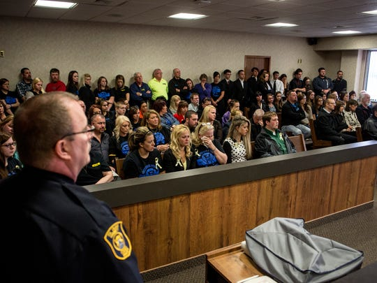 Dozens pack the courtroom during sentencing Friday, April 29, 2016 at the St. Clair County Courthouse in Port Huron. Trent Sheldon was sentenced to 3-15 years in prison for operating while intoxicated causing death.