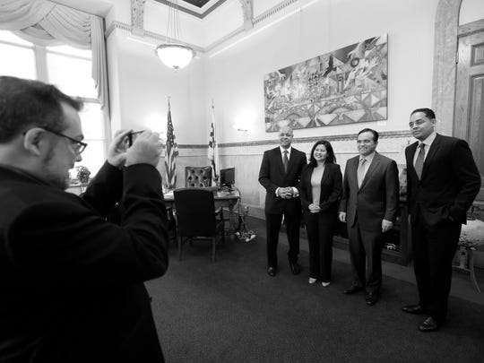In this file photo, then-Mayor John Cranley spokesman Kevin Osborne is seen shooting several new City Hall hires. (The Enquirer/Carrie Cochran)