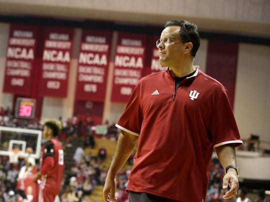Indiana coach Tom Crean watches as his team prepares to scrimmage during IU's Hoosier Hysteria on Saturday, Oct. 24, 2015, at Assembly Hall in Bloomington. (James Brosher / For The Star)