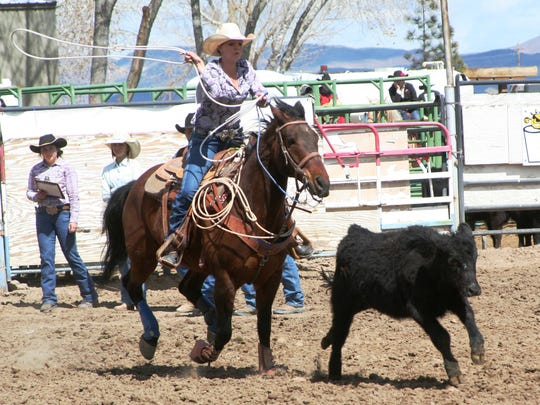 Yerington High student Ally Moreda, shown competing in breakaway roping at the Yerington Rodeo in March, will be among several Lyon County student-athletes competing at the Nevada High School Rodeo Association Finals this week in Ely.