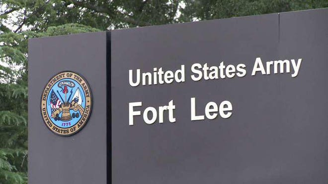 The sign at the Lee Gate on Fort Lee in Prince George, Va. is shown in this undated file photo.