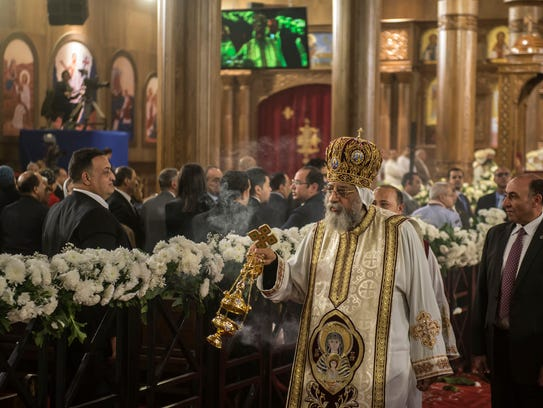 Egyptian Coptic Pope Tawadros II leads the Christmas