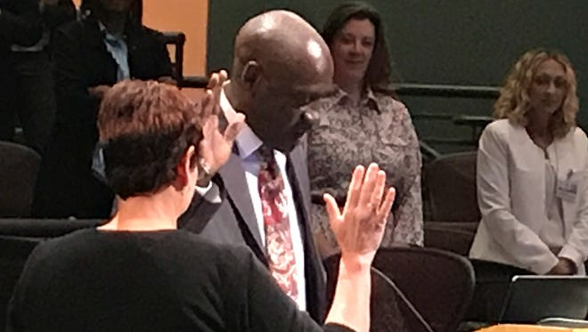 Lannis Timmons is sworn in as a Cincinnati Public Schools Board of Education Member.