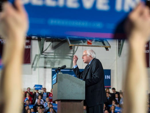 Sen. Bernie Sanders, I-Vt., speaks to supporters in