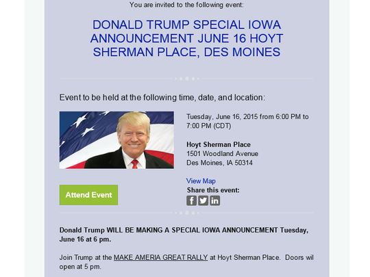 An email invite for Donald Trump's Des Moines event set for June 16.