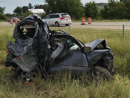 This Toyota 4Runner SUV was struck by a semi-truck,