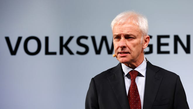Volkswagen AG chief executive officer Matthias Müller speaks in Detroit, Sunday, Jan. 10, 2016.