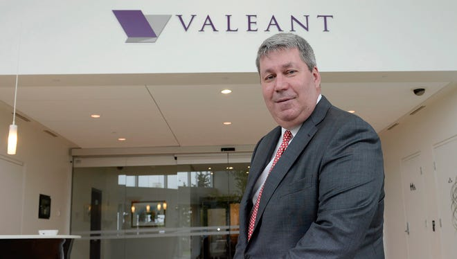 File photo taken in 2015 shows J. Michael Pearson, the soon-to-depart CEO of embattled drugmaker Valeant Pharmaceuticals International.