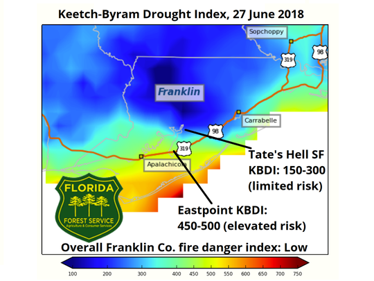 The drought index in Franklin County was low overall, but Eastpoint had an elevated risk.