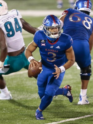 Junior quarterback Miles Kendrick was 15-for-24 passing for 156 yards, two touchdowns and an interception in the Jayhawks' 38-23 defeat to Coastal Carolina on Sept. 12 in Lawrence.