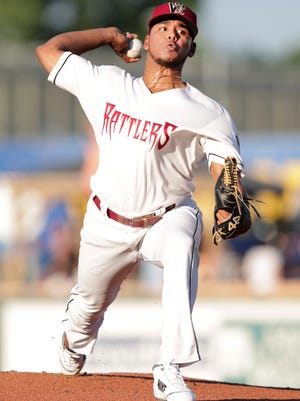 Milwaukee Brewers pitcher Freddy Peralta, on temporary assignment during the all-star break, started for the Wisconsin Timber Rattlers on Wednesday against the Dayton Dragons at Neuroscience Group Field at Fox Cities Stadium.