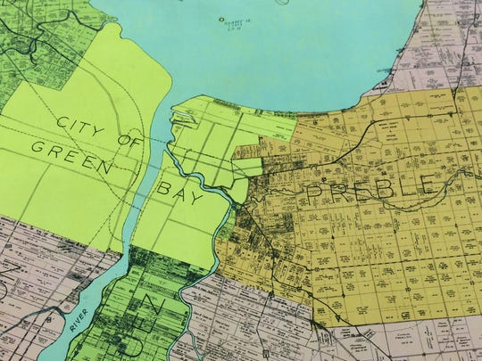 The town of Preble and city of Green Bay are shown on this map as they appeared side by side before the merger.
