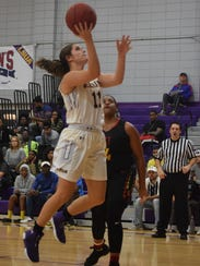 Louisiana State University at Alexandria's Katie Lemieux (11) gets two against St. Thomas Celts Thursday, Jan. 12, 2018 at the Fort.