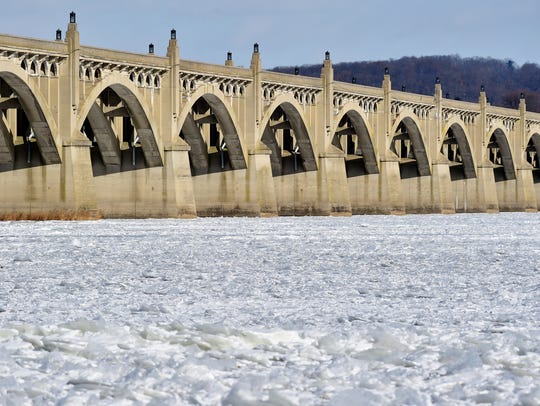 The surface of the Susquehanna River resembles jagged