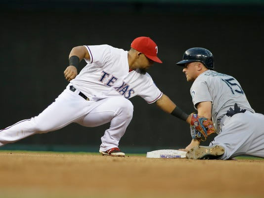 Seattle Mariners Kyle Seager, right, steals second base against Texas Rangers second baseman Rougned Odor, left, during the fourth inning of a baseball game in Arlington, Texas, Monday, Aug. 17, 2015. (AP Photo/LM Otero)