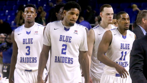 MTSU's players (L to R) Joshua Phillips (3), Perrin Buford (2) and Reggie Upshaw Jr. (30) all have a chance to defy the odds Friday.