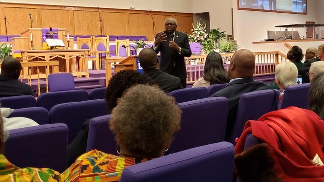 Rep. Jim Clyburn, the House majority whip, speaks Sunday, March 1, 2020, at Simon Temple AME Zion Church in Fayetteville. Clyburn was there to campaign on behalf of Democratic presidential candidate Joe Biden. Black votes played a decisive role in Biden's victory in the Democratic Party primary.