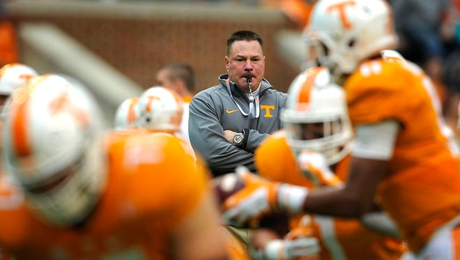 Tennessee coach Butch Jones watches his team warm up for the Nov. 7 game against South Carolina.