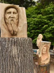 Some of Don Mesuda's carvings before being sanded or torched.