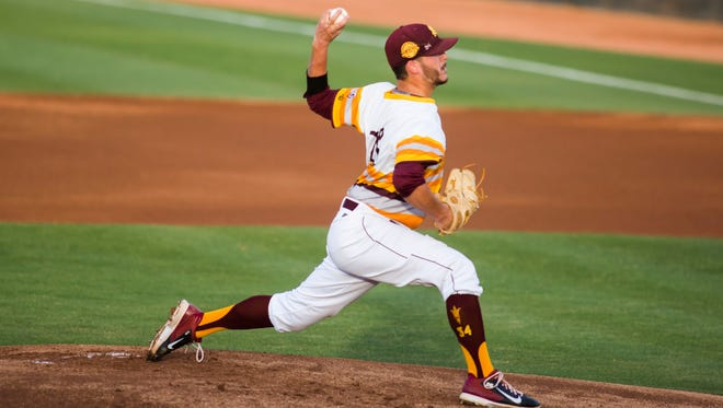 ASU starter Brett Lilek pitches during the ASU and Utah game 1 of Pac-12 series at Packard Stadium on Friday, May 16, 2014 in Tempe, Arizona.