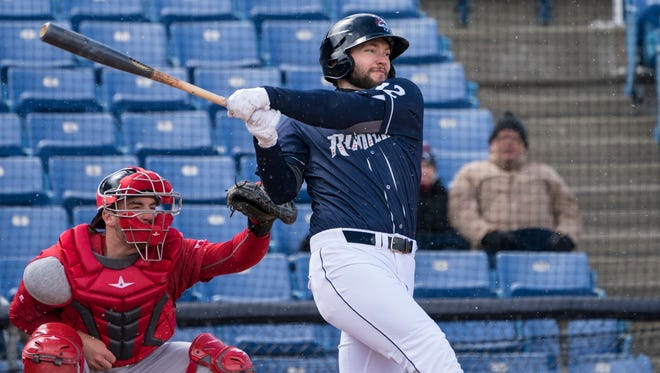 Apr 8, 2018; Binghamton, NY, USA; Binghamton Rumble Ponies right fielder Kevin Taylor (12) at bat during the fourth inning of the game at NYSEG Stadium.