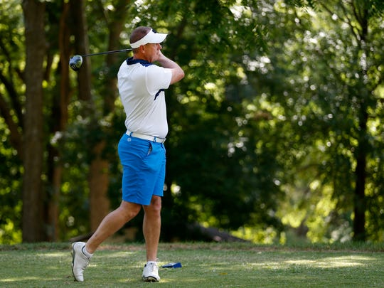Andy Stewart tees off on the 8th hole at Highland Springs Country Club during the Price Cutter Charity Championship Pro-Am on Wednesday, July 25, 2018.