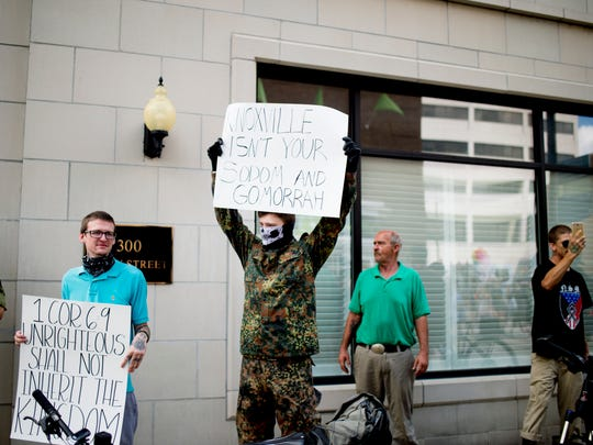 White nationalist protesters during the annual Knoxville