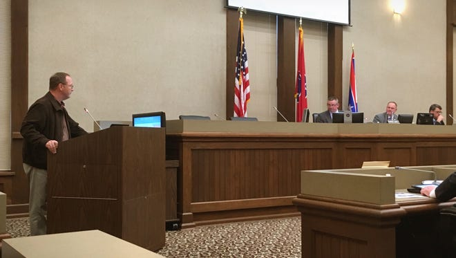 Charles Pecka, 2018 Clarksville Association of Realtors president, addresses the Montgomery County Commission on Monday.