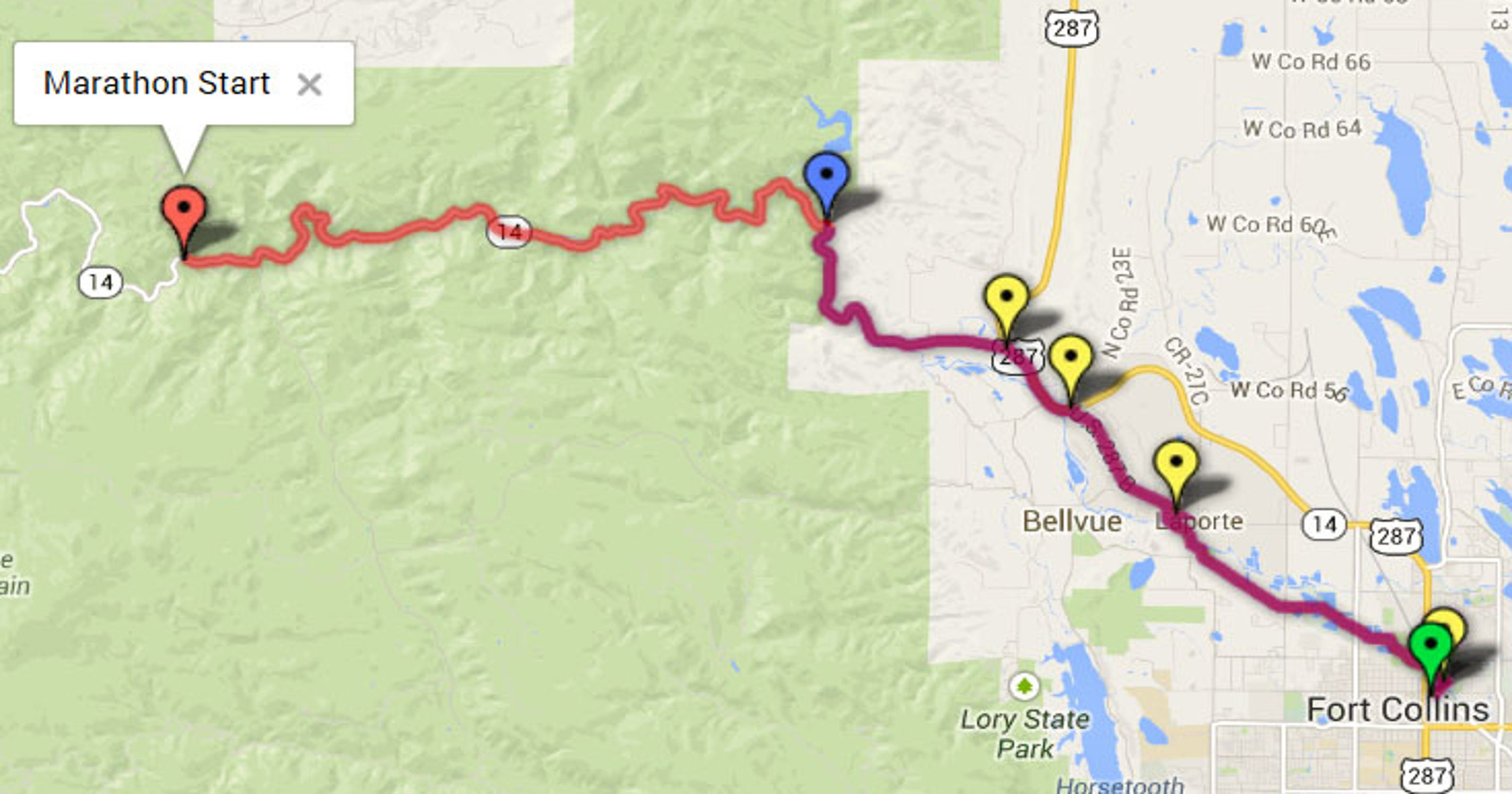 Map Colorado Marathon Route And Course Breakdown