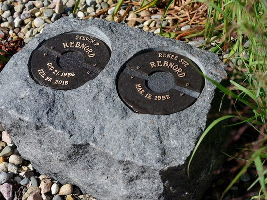 A large rock has been hollowed out to hold the cremated remains of Steven Rebnord and eventually his wife, Renee, at Hills of Rest Memorial Park.