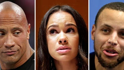 "FILE - At left, in a March 29, 2015, file photo, Dwayne ""The Rock"" Johnson makes an appearance at Wrestlemania XXXI in Santa Clara, Calif. At center, in a June 30, 2015, file photo, Misty Copeland speaks to reporters in New York. At right, in a Jan. 24, 2017, file photo, Golden State Warrior's Stephen Curry speaks during a news conference in Charlotte, N.C. Actor Dwayne ""The Rock"" Johnson and professional ballerina Misty Copeland have joined basketball star Stephen Curry in criticizing the CEO of sports apparel company Under Armour for praising President Donald Trump."