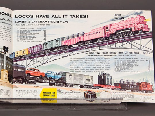 """Lionel advertised the pastel train set in its 1958 catalogues in an attempt to unload the stock that did not sell the year before. The ad copy took some liberty with the truth when it proclaimed: """"Girl railroaders all over the country are in love with this exclusive Lionel set!"""" Lionel 1958 trade catalogue from The Stephen and Diane Olin Toy Catalog Collection, courtesy of The Strong, Rochester, New York."""