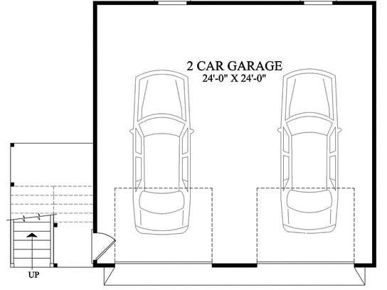 Above this two-car garage, you'll find a spacious one-bedroom