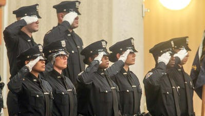 Members of the 97th Wilmington Police Academy Graduating class at a ceremony at Chase Center On The Riverfront.