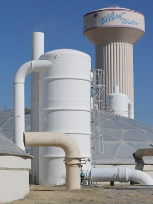 An air purifier cleans the air from a clarifier at the Haskell Street Wastewater Treatment Plant. Additional air cleaners have been requested under the El Paso Water Utilities rate increase.