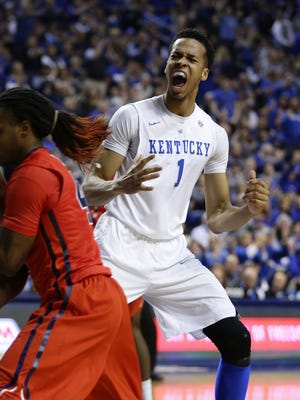Kentucky's Skal Labissiere celebrates a dunk against Mississippi on Jan. 2, 2016, in Lexington, Ky.