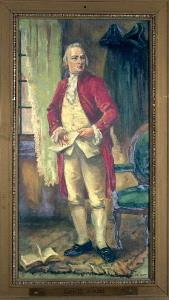 Samuel Adams, as portrayed in a 1927 painting that was commissioned as part of the 150th anniversary of the adoption of the Articles of Confederation in York in 1927. Adams penned the Proclamation of Thanksgiving and Praise after Continental Congress learned of the American victory in the Battle of Saratoga.
