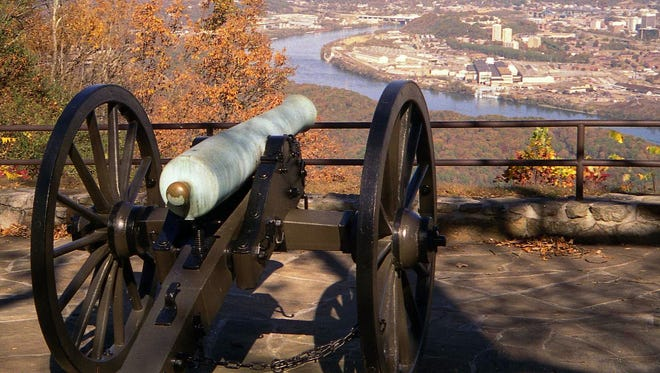 A 12-pounder Napoleon cannon, a standard weapon used by both sides in the Civil War, stands guard over downtown Chattanooga and the Tennessee River Valley from the top of Lookout Mountain, the most scenic part of the Chickamauga and Chattanooga National Military Park in 2005.